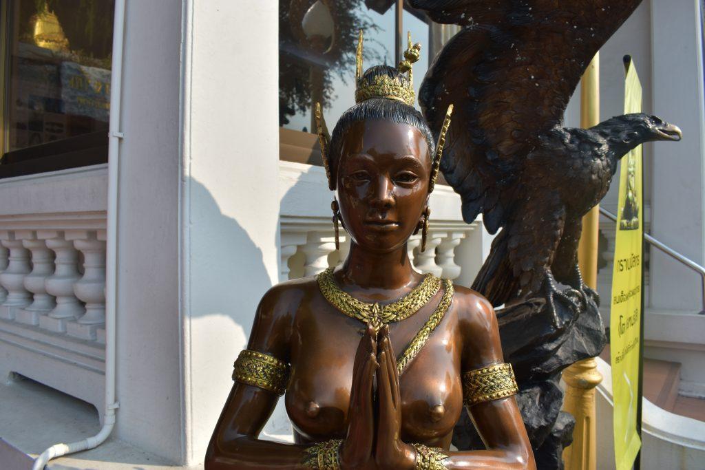 A Kinnari Statue at the Golden Mountain at Wat Saket in Bangkok