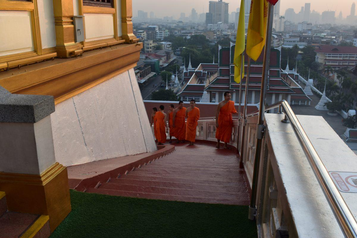 Monks at the Golden Mountain Temple in Bangkok