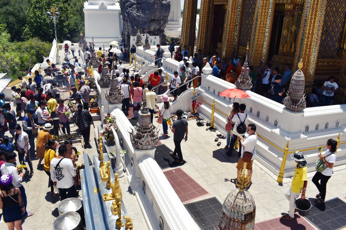 Buddhists at temple